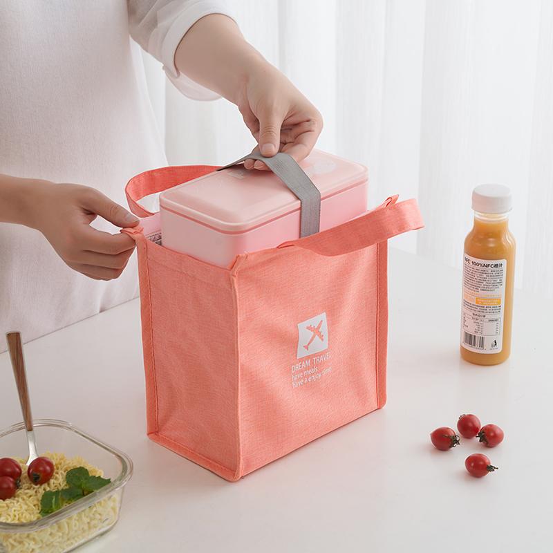 纳腾饭盒袋女手提包保温包小号便当包牛津布防水保温袋 铝箔 加厚