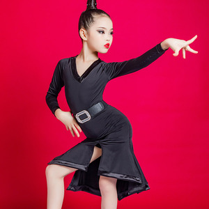 Girls Latin Dance Dresses Latin dance clothing children children long sleeve dance skirt girls standard training professional performance clothing