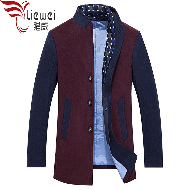 2018新款中年男士商务休闲镶拼可脱卸双层领中长款羊毛呢大衣外套