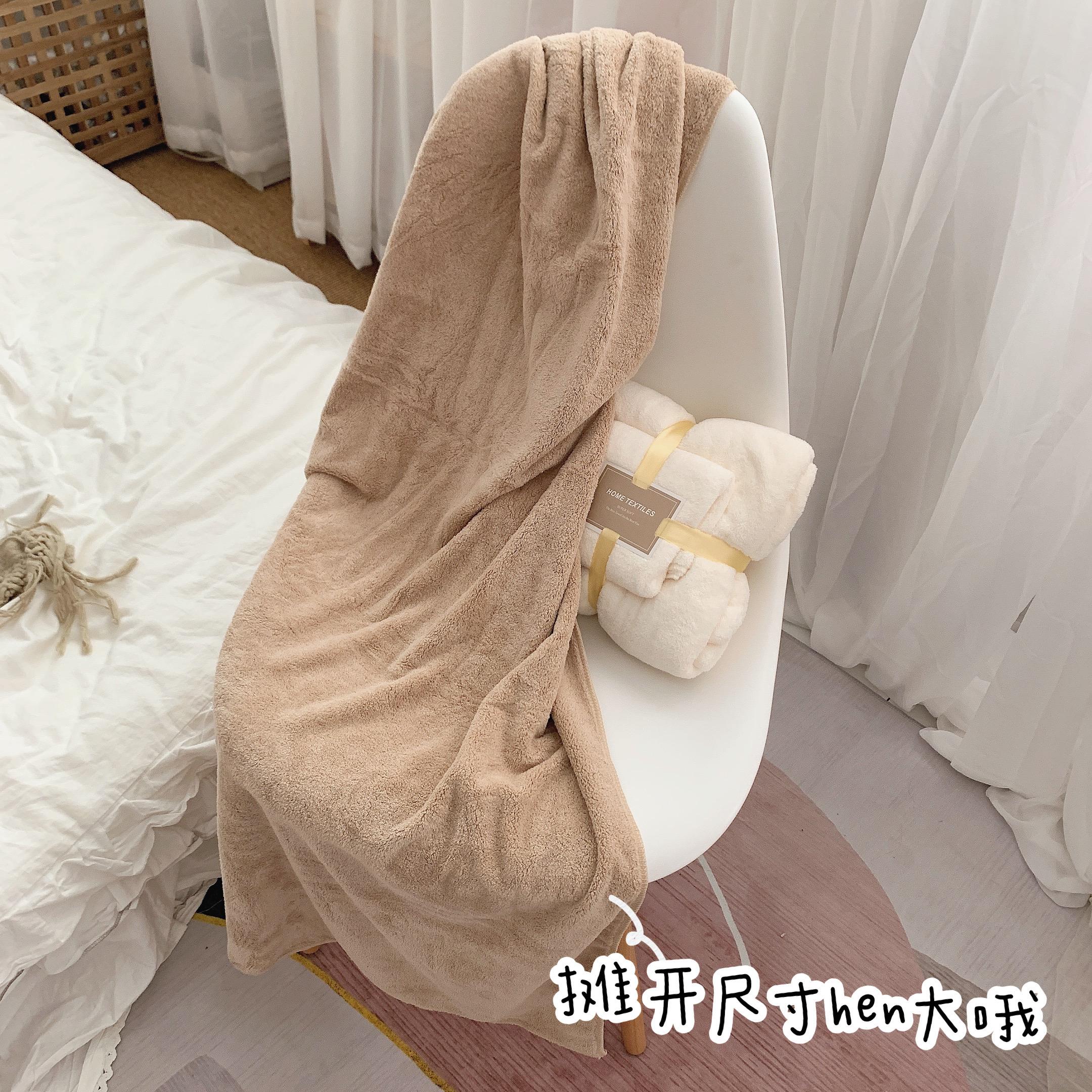 少女心放映室 吸水浴巾毛巾两件套 加厚珊瑚绒速干女学生宿舍家用