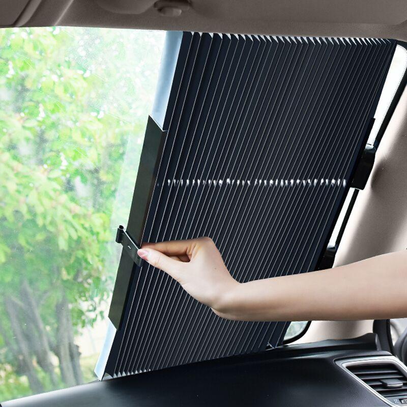 【适合所有车型】第5项:汽车自动伸缩隔热遮阳帘46cm+送侧帘*2片 28元包邮(48-20元券)