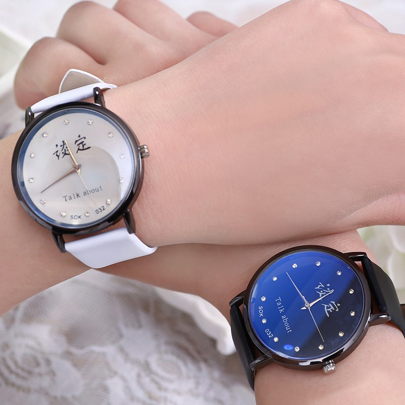 2019 Spring and summer new Harajuku Trend fashion Retro Junior high school students male and female couple watches a couple of Korean version simple