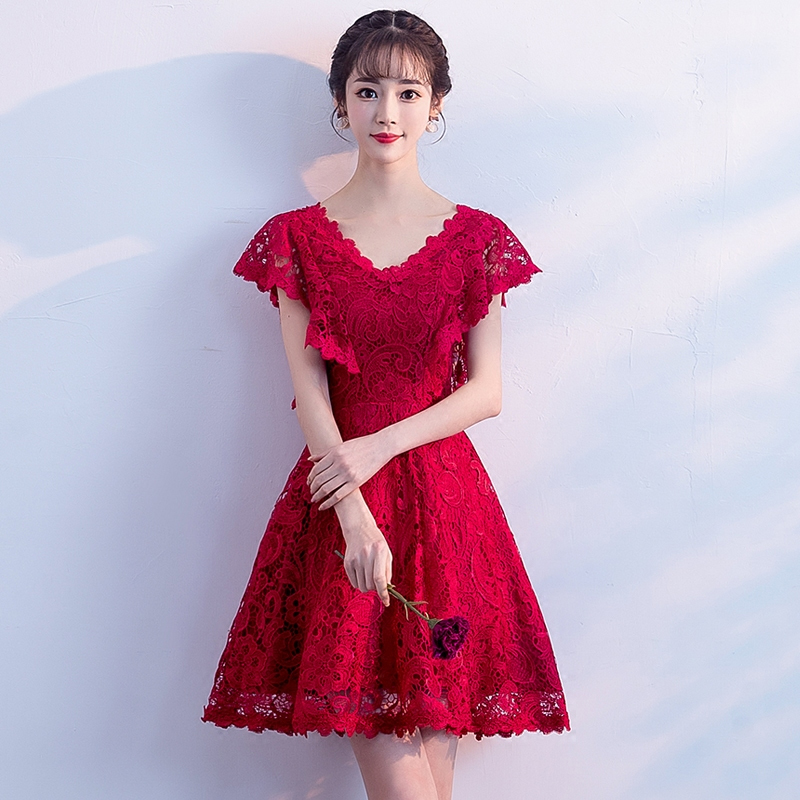 4290e443f Toast clothing bride short paragraph 2019 new summer red engagement knot  wedding noble evening dress skirt small children