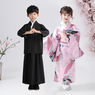 Japanese kimono dress for boys girls children Traditional Japanese Style film cosplay Peacock Yukata kimono Dress for girls