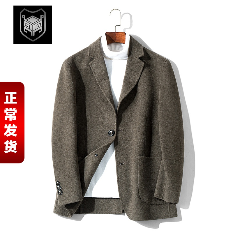 Double-sided it suit yuppies single men sheep Mao Nizi suit Korean fashion casual jacket short paragraph cashmere Nepal
