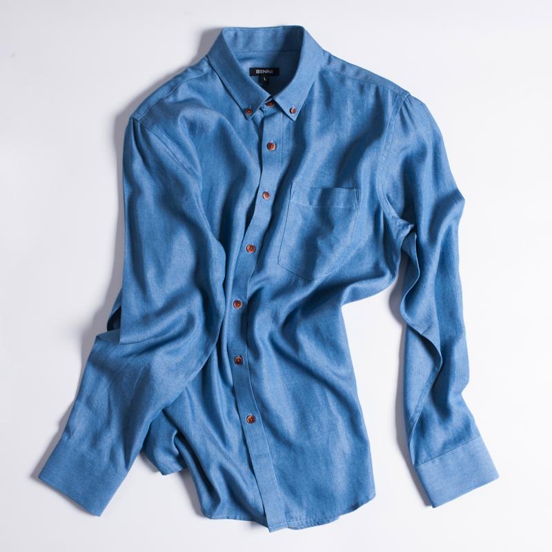 日本進口天絲面料、拉夫勞倫制造商:本米 男士 修身牛仔襯衫