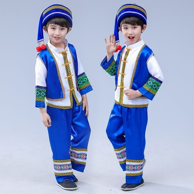 Children's Miao costume, boys' ethnic costume, Zhuang nationality, Yunnan Tujia gourd silk costume.