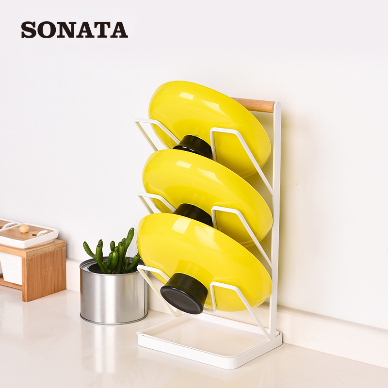 Kitchen wall pendant type hole-free hanging pot cover shelf with water tray collection supplies nail-free hanging rack