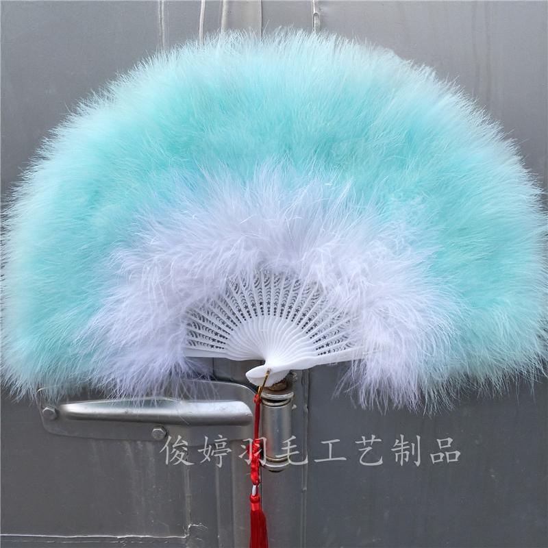 包邮全绒走秀羽毛扇子羽毛扇子标准渐变舞台v羽毛舞蹈扇加厚旗袍扇