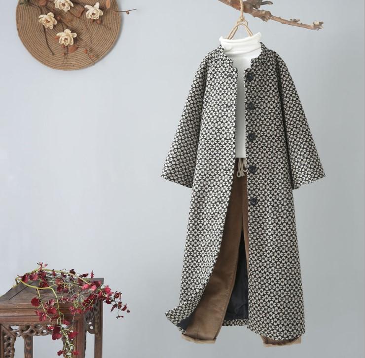 Mùa thu và mùa đông 2019 văn học nghệ thuật và phụ nữ lỏng lẻo in áo khoác len dày của phụ nữ áo len dài giữa ngực đơn ngực - Áo khoác dài