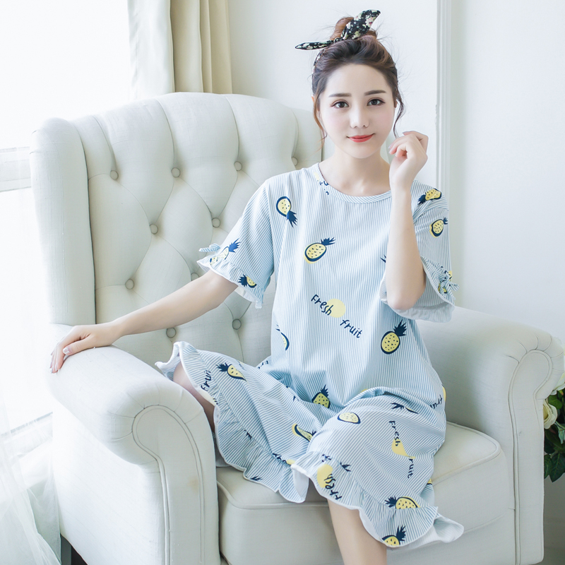 c58f54debb56 Sleeping dress female summer cotton cute pajamas summer Korean fresh  students loose large size pregnant women home service can wear