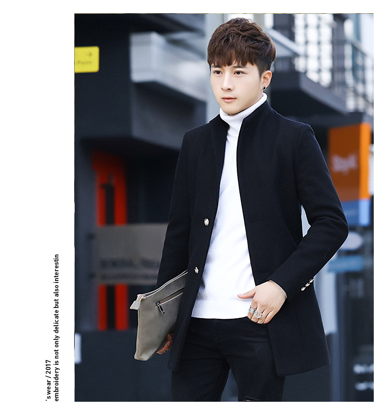 Winter 2020 new trend fashion men's hair coat in the long handsome male youth cotton coat 61 Online shopping Bangladesh