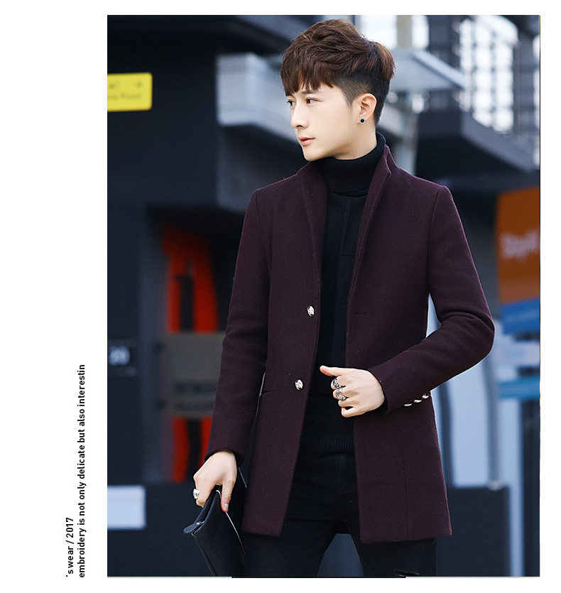 Winter 2020 new trend fashion men's hair coat in the long handsome male youth cotton coat 57 Online shopping Bangladesh