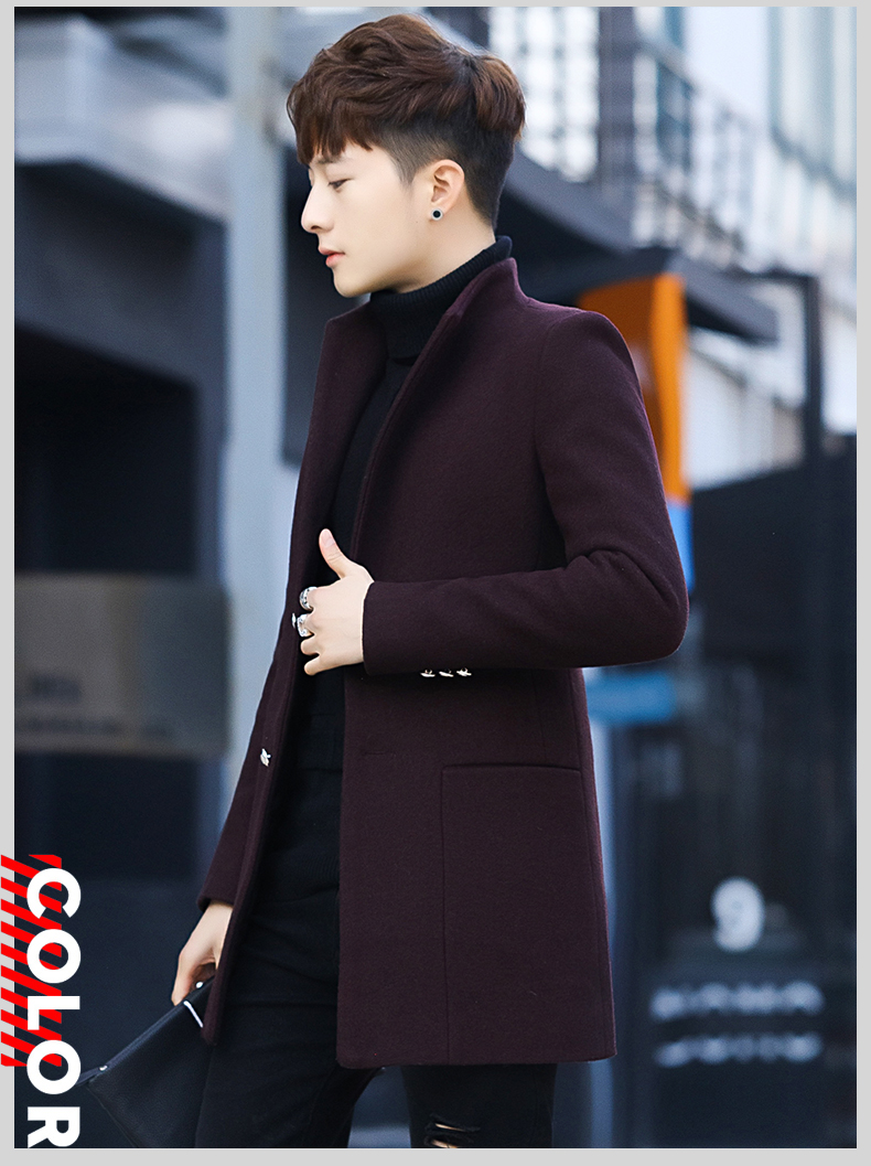 Winter 2020 new trend fashion men's hair coat in the long handsome male youth cotton coat 59 Online shopping Bangladesh