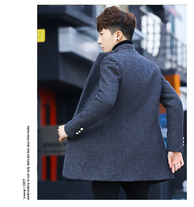 Winter 2020 new trend fashion men's hair coat in the long handsome male youth cotton coat 53 Online shopping Bangladesh