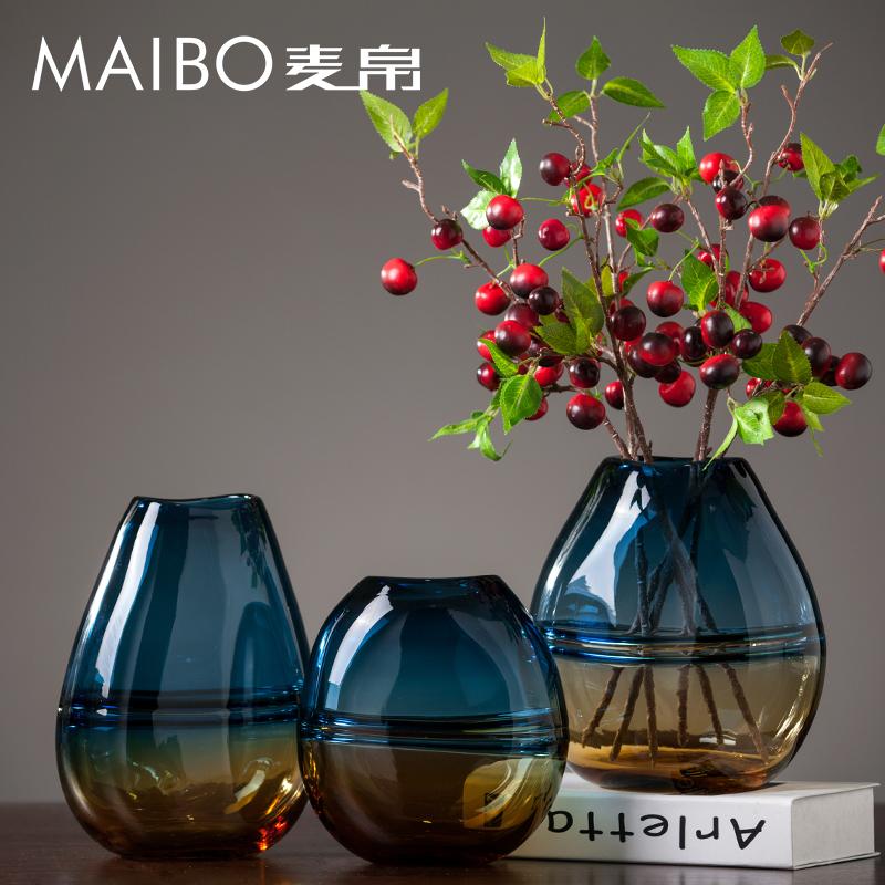 麦帛渐变双色玻璃花瓶 ins创意小口径透明手工客厅电视柜装饰摆件