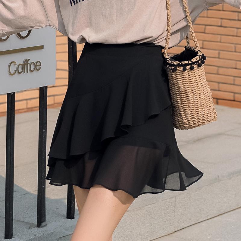 雪纺包臀鱼尾裙半身裙夏季荷叶边a字短款不规则显瘦高腰包臀裙裤