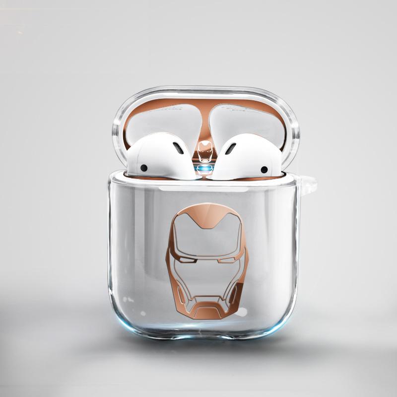 适用AirPods2保护套透明硅胶苹果二代无线保护壳airPods防尘贴AirPods2耳机贴纸保护套airpods保护盒子套漫威