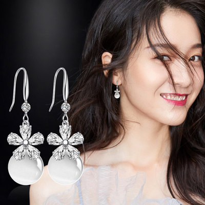 Man Humi earrings artificial crystal artificial cat eye stone earrings Japanese and Korean temperament new earrings Korean version of the tide female earrings