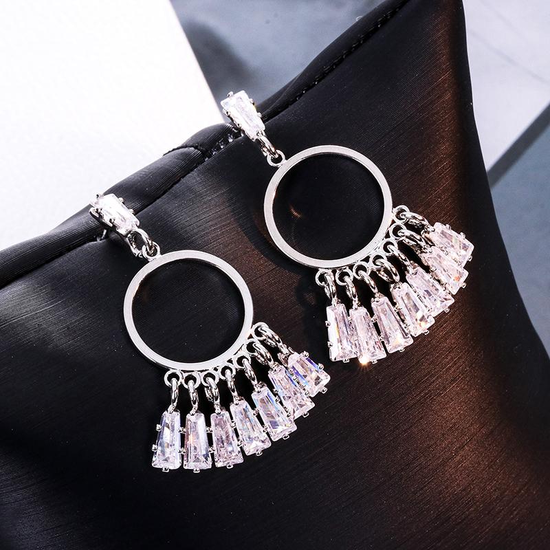 銀針窗簾風鈴水晶簾扇子扇形流蘇耳環