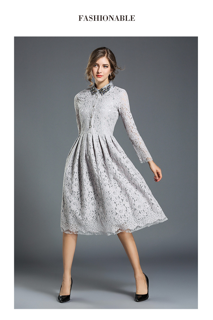 a264585ad9a0 2018 Spring women new Elegant gray lace Floral short dress female Casual  Ball Gown Knee-Length dresses office lady party Dress