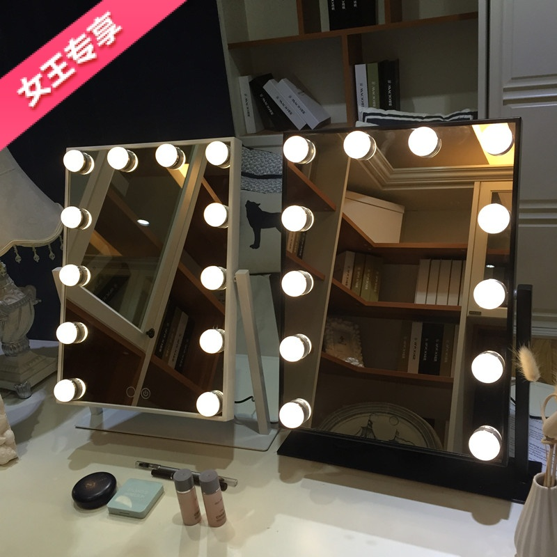 Usd 5779 Large Led Makeup Mirror With Light Bulb Square Desktop