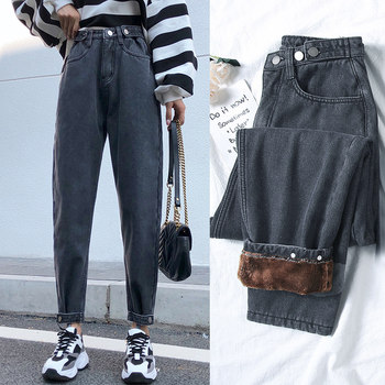 Plus velvet jeans female loose 2019 autumn new winter was thin waist straight pants radish father Harlan