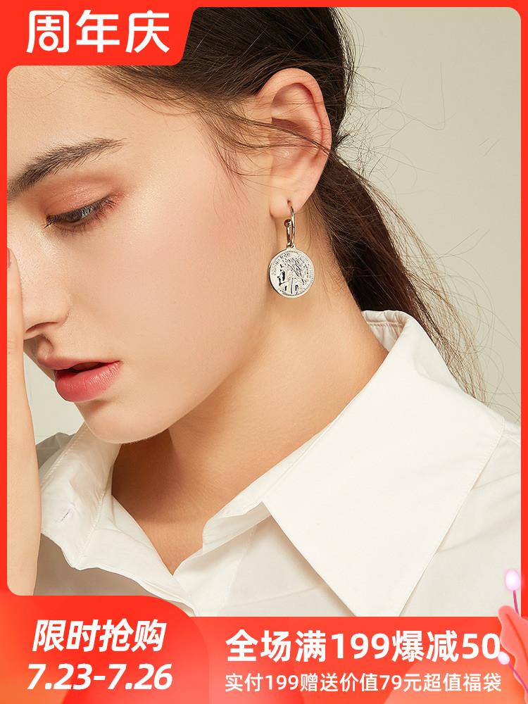 Portrait coin high-grade sense earrings 2021 new trend drop earrings French wild earrings retro niche earrings