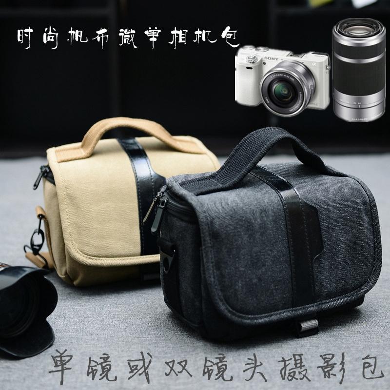 索尼A6000镜头包A6300NEX-5RNEX-75T微单摄影包双相机单肩包