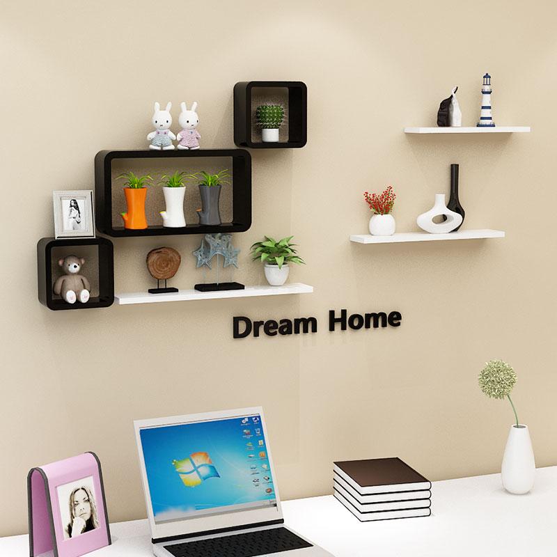 墙上置物架免打孔壁挂卧室创意格子客厅电视背景墙面装饰房间隔板