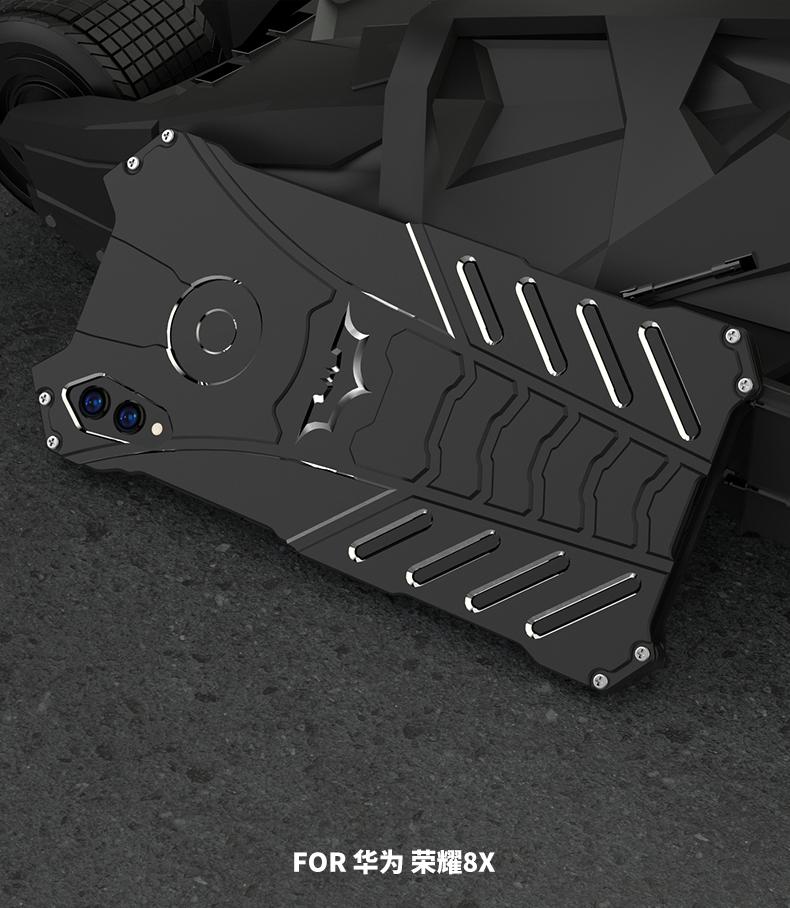 R-Just Batman Shockproof Aluminum Shell Metal Case with Custom Batarang Stent for Huawei Honor 8X