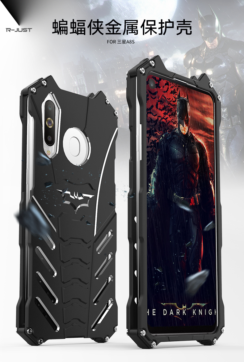 R-Just Batman Shockproof Aluminum Shell Metal Case with Custom Batarang Stent for Samsung Galaxy A8s