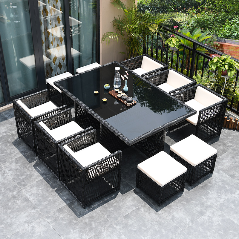 Outdoor rattan chair combination leisure terrace balcony rattan chair outdoor open-air courtyard to receive rain-proof sun-proof tables and chairs.