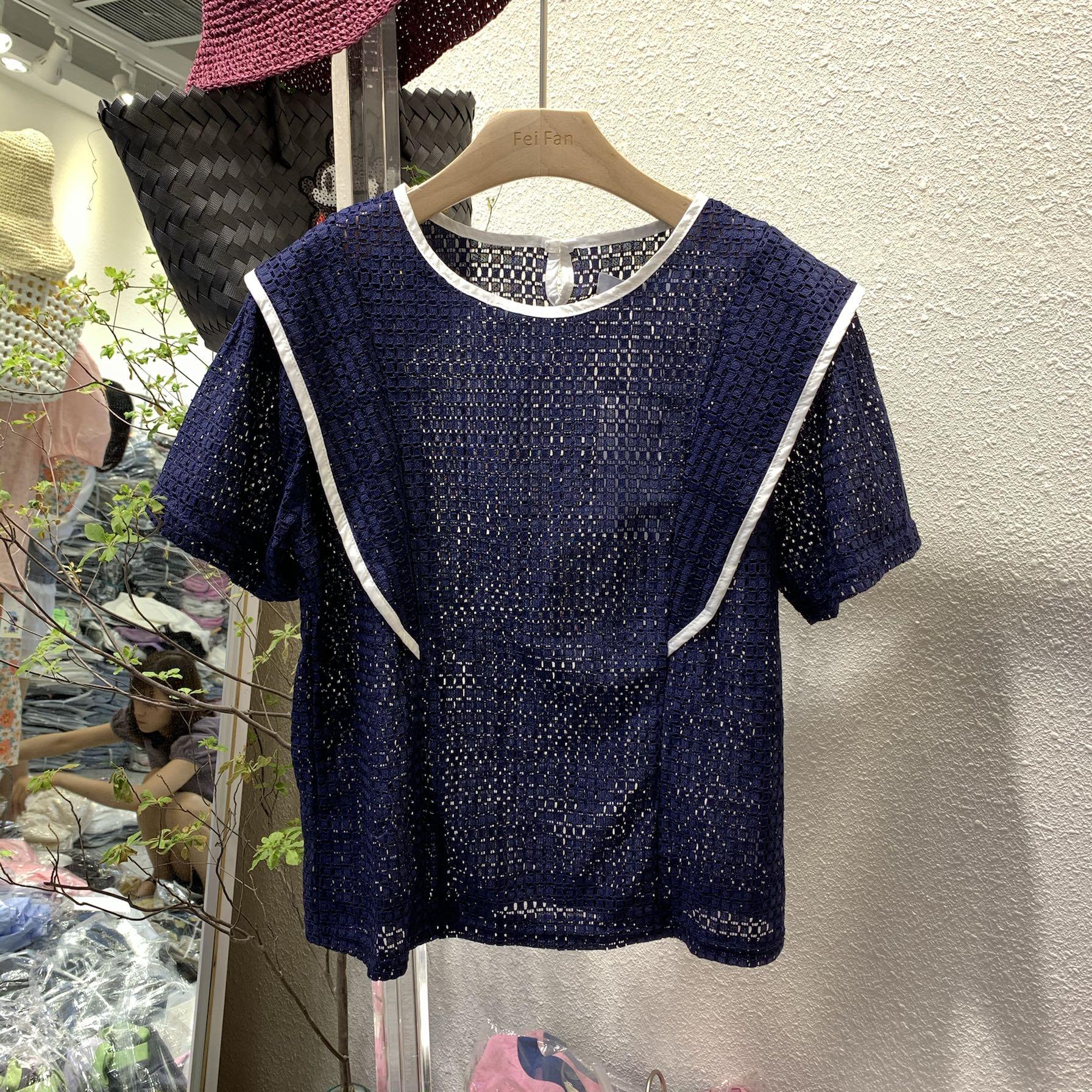 Mẫu áo chống lão hóa Hàn Quốc 2020 hè mới dành cho nữ áo lưới ren tay ngắn tay áo ngắn tay top 2093 - Áo sơ mi