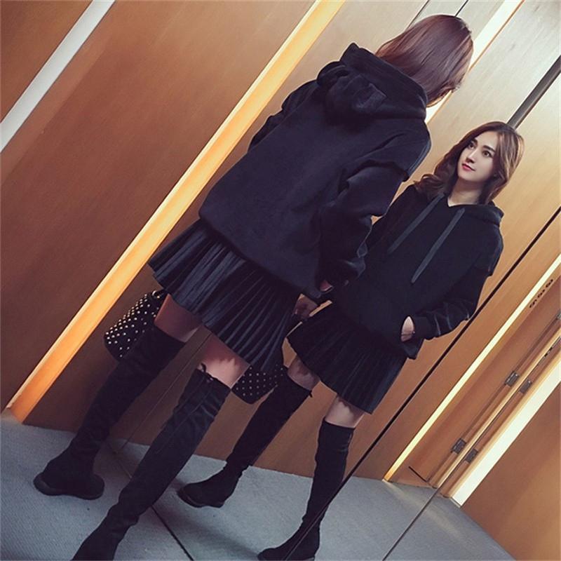 大码裙子2019新款网红显两妹妹装女洋气胖件套金丝绒卫衣短春装