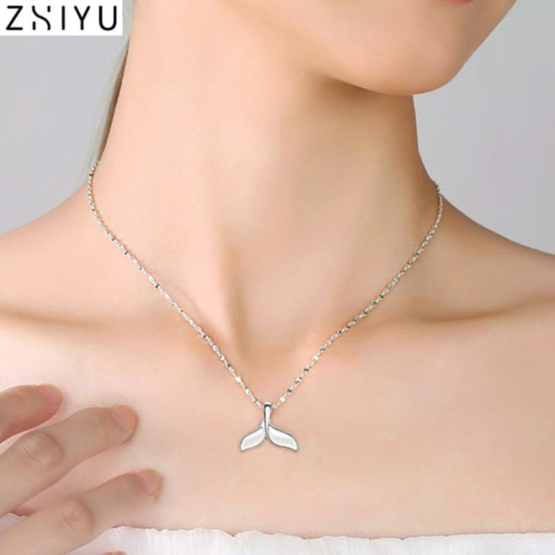 鱼尾999纯银项链轻奢小众设计感女士锁骨吊坠女生日礼物贝母品牌