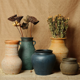 Xiangshe Stoneware Earthenware Pot Vase Flower Succulent Flower Pot Retro Earth Pottery Breathable Dried Flowers Make Old Earth Pot Earthenware Jar Jar