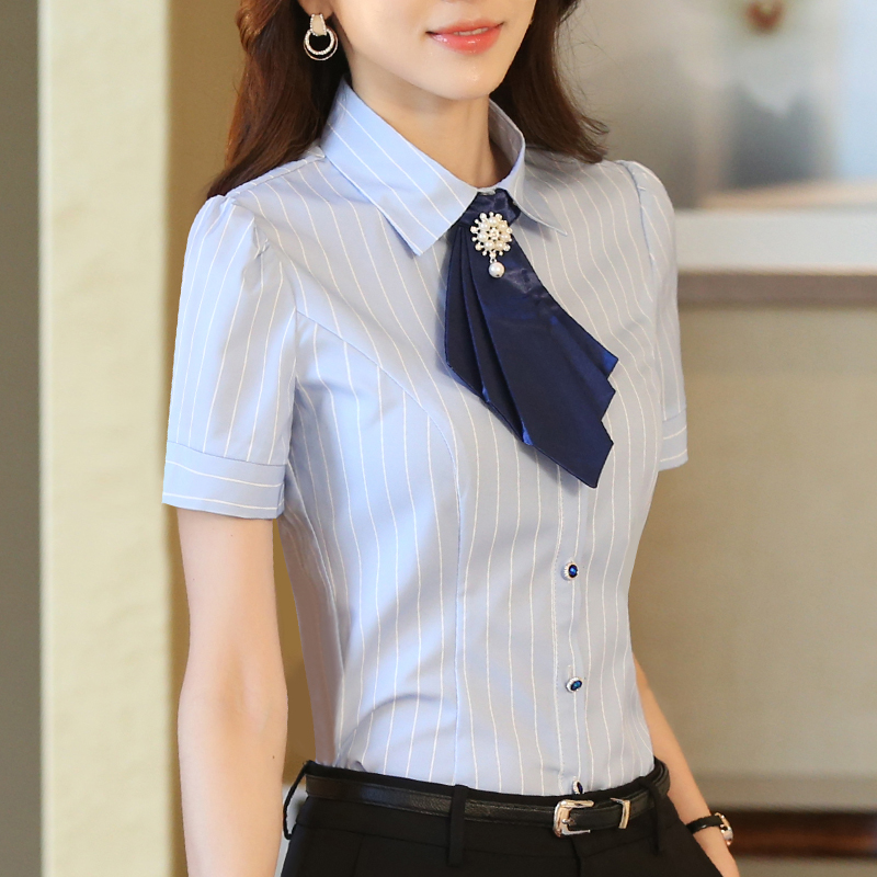 职业装衬衫女短袖条纹酒店工作服夏季修身大码工装衬衣女正装套装