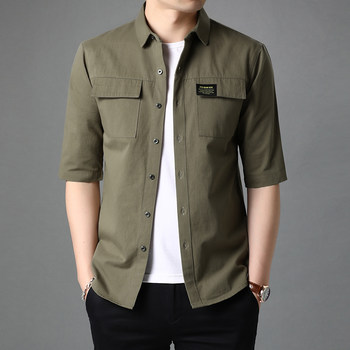 Sleeve cotton short-sleeved shirt male summer men's Korean version of the trend of men's shirts frock coat jacket thin section