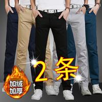 Черный осень-зима сезон замшевый утепленный для отдыха брюки мужской прямые осень дикий мужской Растущие штаны мужской корейская версия модные