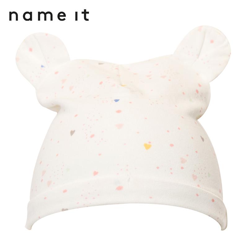 nameit耳朵秋冬童装女童护耳立体婴儿装饰可爱小印花帽子针织棉质