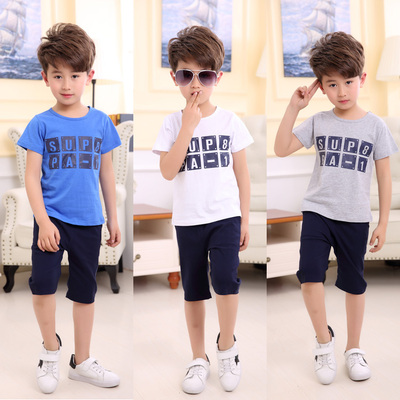 Children's clothing boys two-piece suit summer short-sleeved T-shirt pants 2017 new large children's sports leisure sets