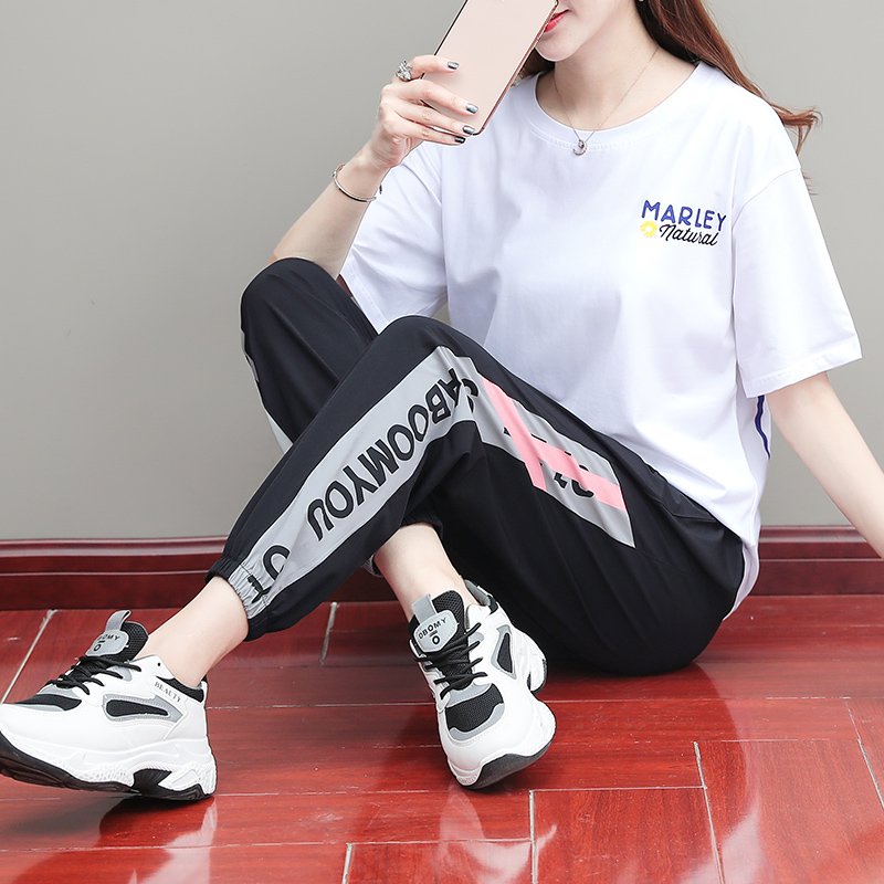 Trend fashion sportswear suit female 2020 summer new hip hop wild short sleeve popular loose two-piece set