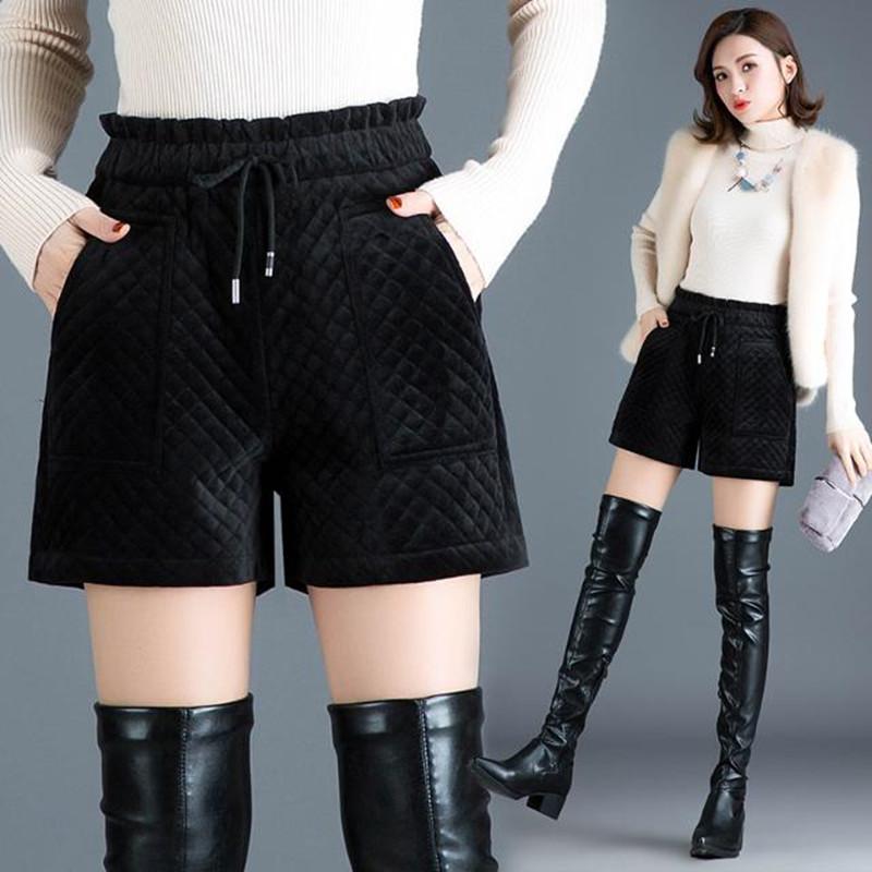 短裤女夹棉加厚秋冬高腰黑色阔腿裤