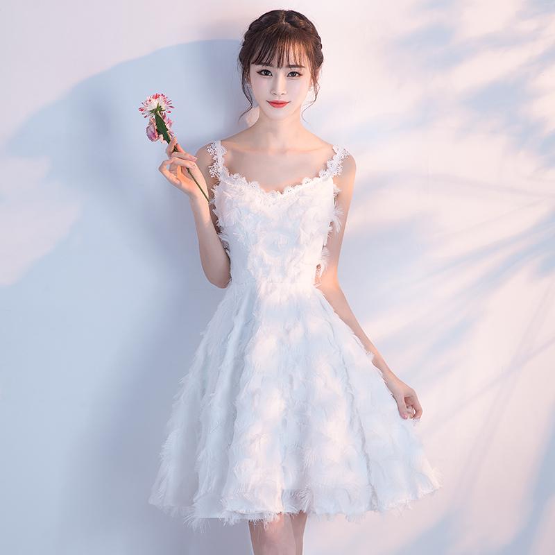 宴会小晚礼服短款2018新款韩版毕业派对伴娘名媛连衣裙女聚会2017