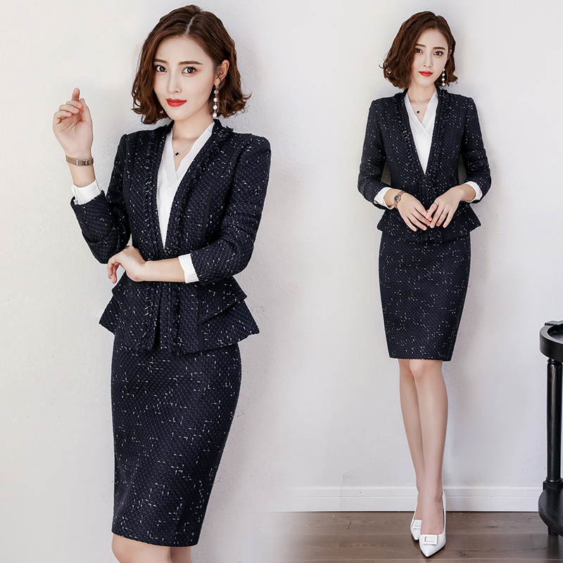 Occupation suit female autumn and winter stewardess occupation dress beauty salon work clothes teacher interview Clothing dress women suit skirt