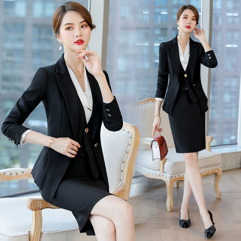Occupation suit female fashion temperament goddess fan 2019 autumn and winter high-end suit work clothes uniform dress skirt