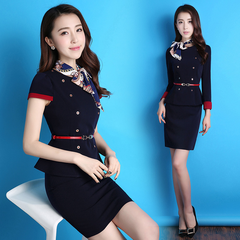 ABYFS flight attendants uniform spring and summer professional dress dress fashion temperament suit suit dress interview women's work clothes