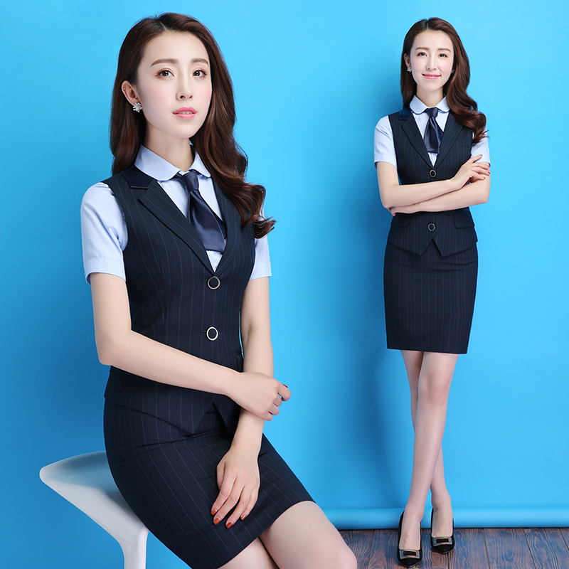ABYFS summer professional women's dress dress is dressed temperamental vest suit short-sleeved shirt flight attendant uniform work clothes.
