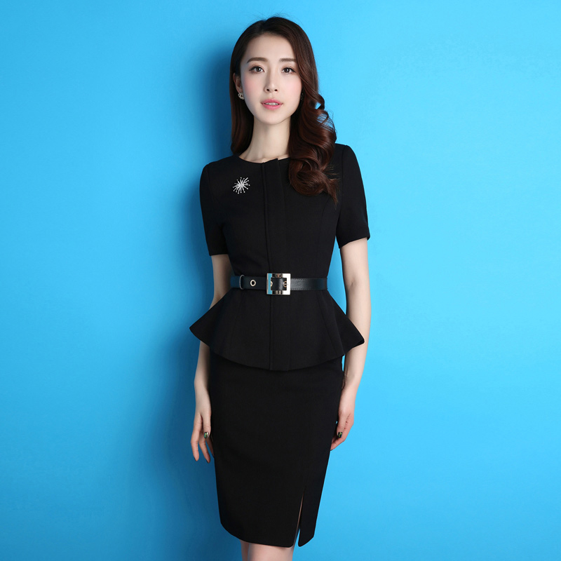 ABYFS professional dress women's suit short-sleeved suit skirt ladies are dressed in business uniform trim work clothes summer